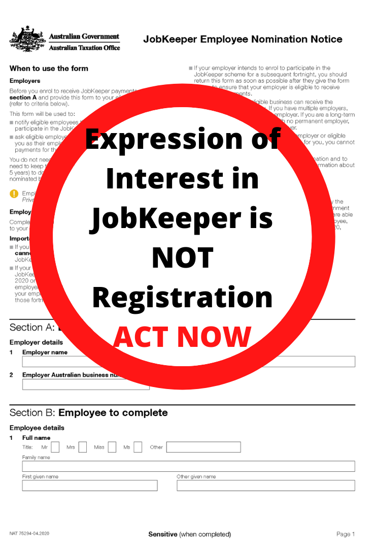 Have you Registered for JobKeeper? (not just lodged an Expression of Interest)